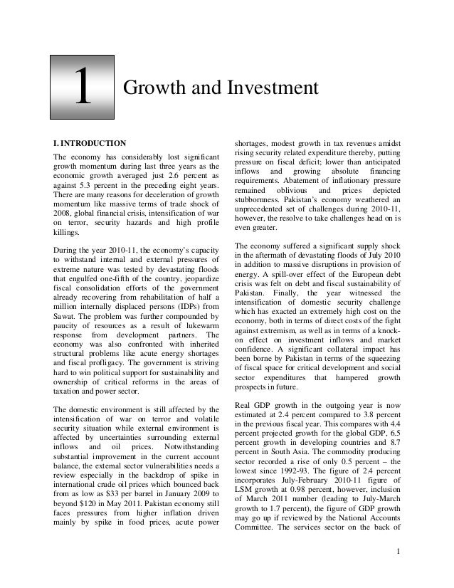 1                Growth and InvestmentI. INTRODUCTION                                         shortages, modest growth in ...