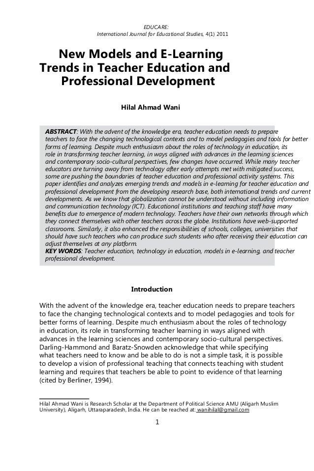 EDUCARE:                      International Journal for Educational Studies, 4(1) 2011   New Models and E-LearningTrends i...