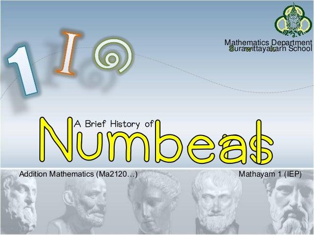 A Brief History of Mathematics Department ura ittaya arn School Addition Mathematics (Ma2120…) Mathayam 1 (IEP)