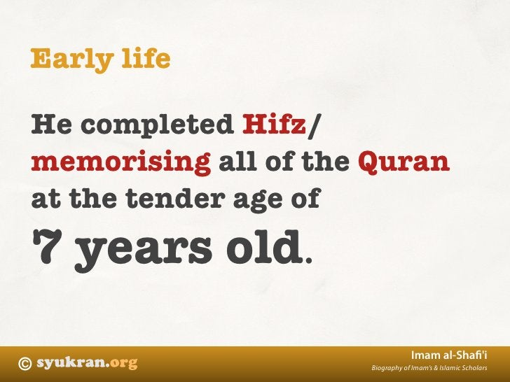 Early life  He completed Hifz/ memorising all of the Quran at the tender age of 7 years old.                              ...