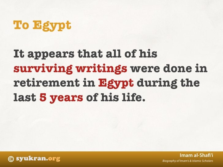 To Egypt  It appears that all of his surviving writings were done in retirement in Egypt during the last 5 years of his li...