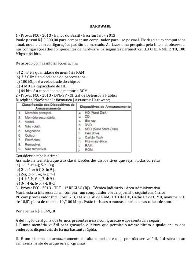 HARDWARE      1  -‐  Prova:  FCC  -‐  2013  -‐  Banco  do  Brasil  -‐  Escriturário  -‐ ...