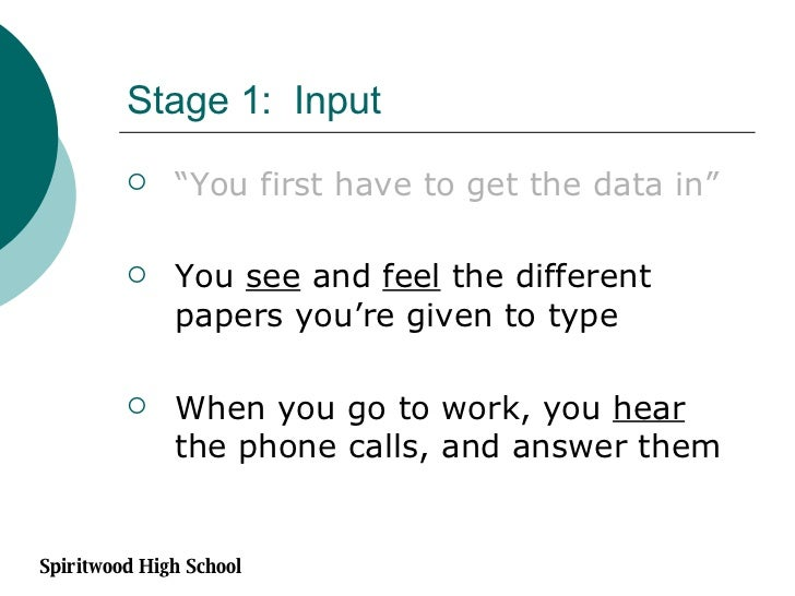 """Stage 1:  Input <ul><li>"""" You first have to get the data in"""" </li></ul><ul><li>You  see  and  feel  the different papers y..."""
