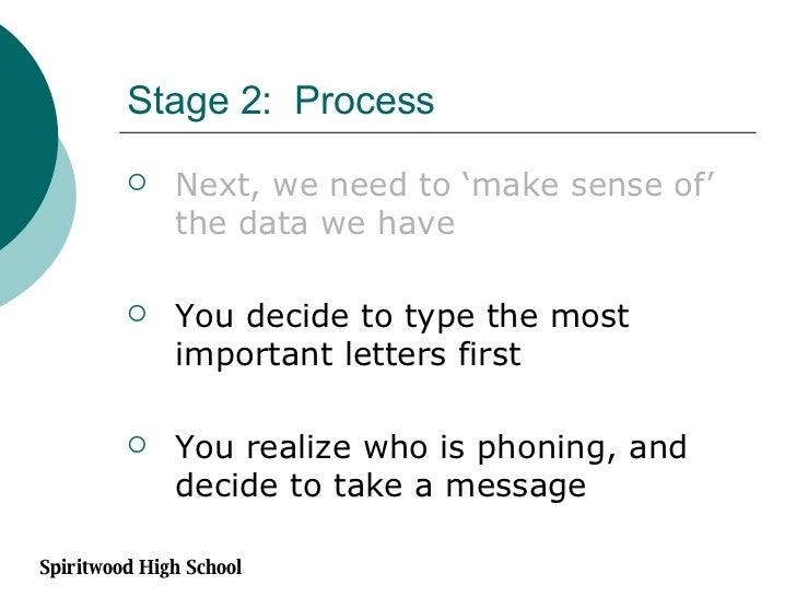 Stage 2:  Process <ul><li>Next, we need to 'make sense of' the data we have </li></ul><ul><li>You decide to type the most ...