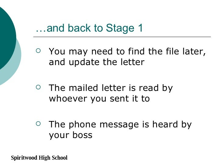…and back to Stage 1 <ul><li>You may need to find the file later, and update the letter </li></ul><ul><li>The mailed lette...