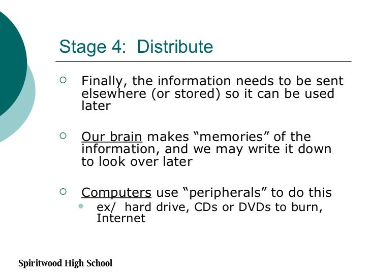 Stage 4:  Distribute <ul><li>Finally, the information needs to be sent elsewhere (or stored) so it can be used later </li>...