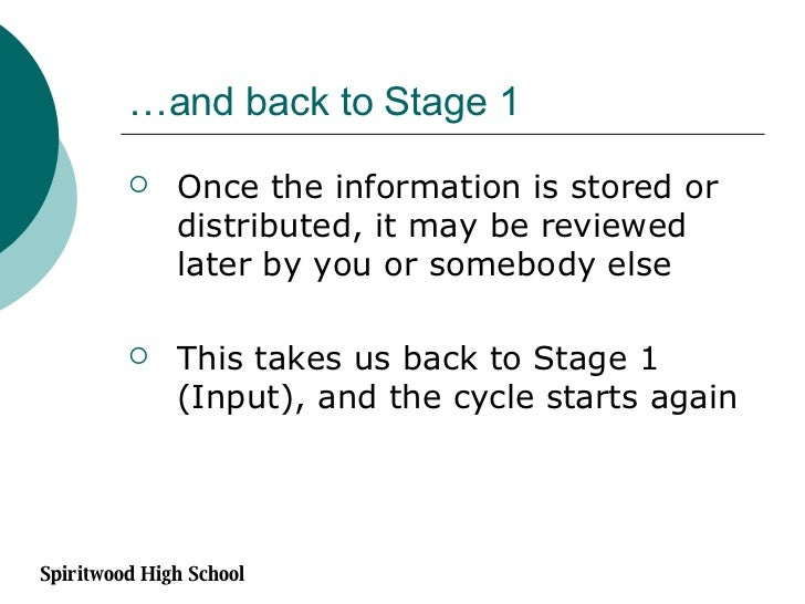 …and back to Stage 1 <ul><li>Once the information is stored or distributed, it may be reviewed later by you or somebody el...