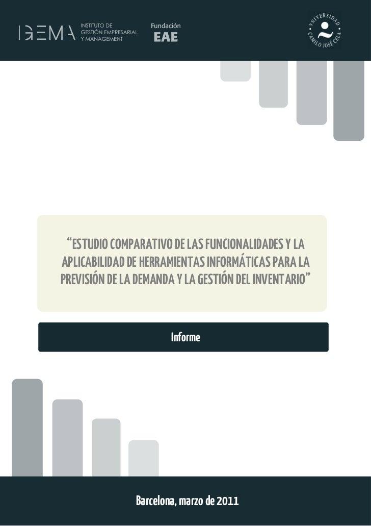 """1 """"ESTUDIO COMPARATIVO DE LAS FUNCIONALIDADES Y LAAPLICABILIDAD DE HERRAMIENTAS INFORMÁTICAS PARA LAPREVISIÓN DE LA DEMAND..."""