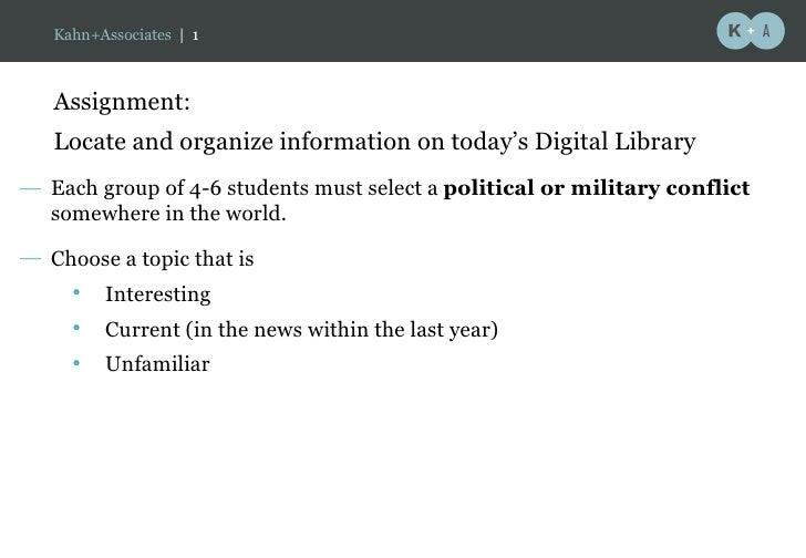 Kahn+Associates | 1                                                    a      Assignment:    Locate and organize informati...