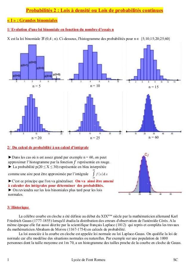 Probabilités 2 : Lois à densité ou Lois de probabilités continues  « I » : Grandes binomiales  1/ Evolution d'une loi bino...