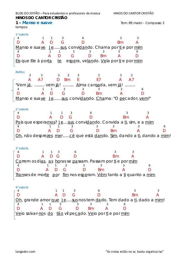 BLOG DO JEFFÃO – Para estudantes e professores de música HINOS DO CANTOR CRISTÃO HINOS DO CANTOR CRISTÃO 1 – Manso e suave...