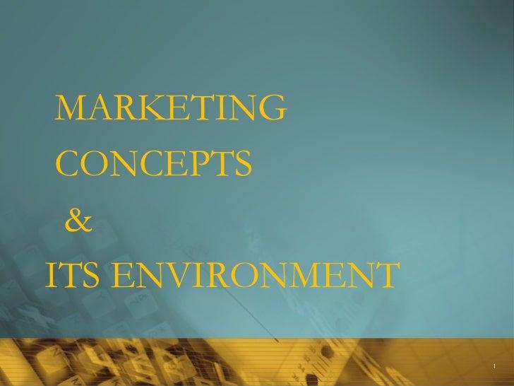 <ul><li>MARKETING  </li></ul><ul><li>CONCEPTS </li></ul><ul><li>&  </li></ul><ul><li>ITS ENVIRONMENT </li></ul>
