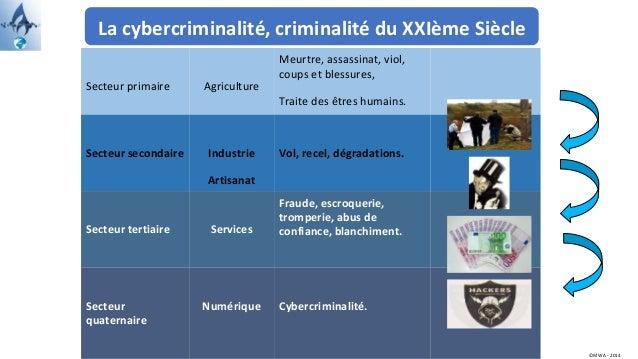 La cybercriminalité, criminalité du XXIème Siècle Secteur primaire Agriculture Meurtre, assassinat, viol, coups et blessur...