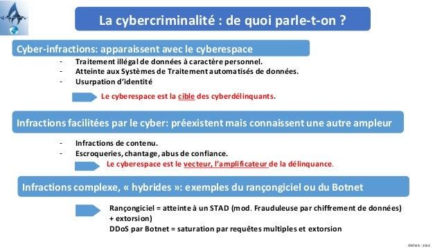 La cybercriminalité : de quoi parle-t-on ? Cyber-infractions: apparaissent avec le cyberespace Infractions facilitées par ...