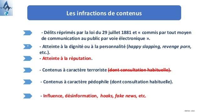 Les infractions de contenus * - Délits réprimés par la loi du 29 juillet 1881 et « commis par tout moyen de communication ...