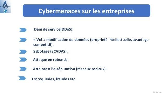 Cybermenaces sur les entreprises ©MWA - 2014 Déni de service(DDoS). Escroqueries, fraudes etc. Sabotage (SCADAS). Attaque ...