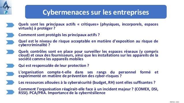 Cybermenaces sur les entreprises ©MWA - 2014 Quels sont les principaux actifs « critiques» (physiques, incorporels, espace...