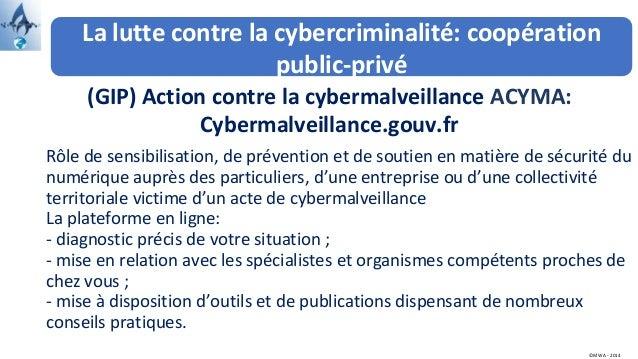 La lutte contre la cybercriminalité: coopération public-privé (GIP) Action contre la cybermalveillance ACYMA: Cybermalveil...