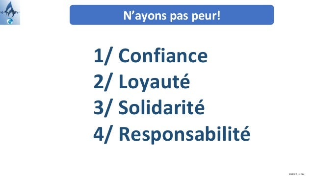 N'ayons pas peur! ©MWA - 2014 1/ Confiance 2/ Loyauté 3/ Solidarité 4/ Responsabilité