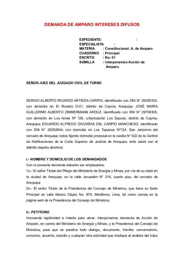 Modelos de demandas de amparo for Juzgado seguridad social