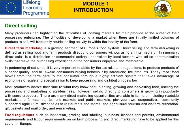 On Farm Food Processing And Direct Selling