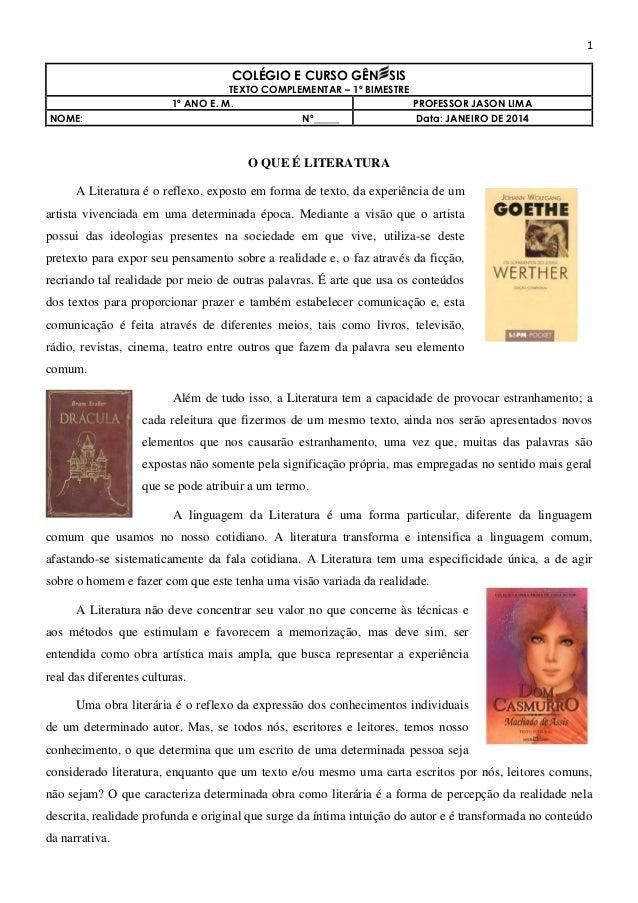 1  COLÉGIO E CURSO GÊN SIS NOME:  TEXTO COMPLEMENTAR – 1º BIMESTRE 1º ANO E. M. PROFESSOR JASON LIMA Nº_____ Data: JANEIRO...