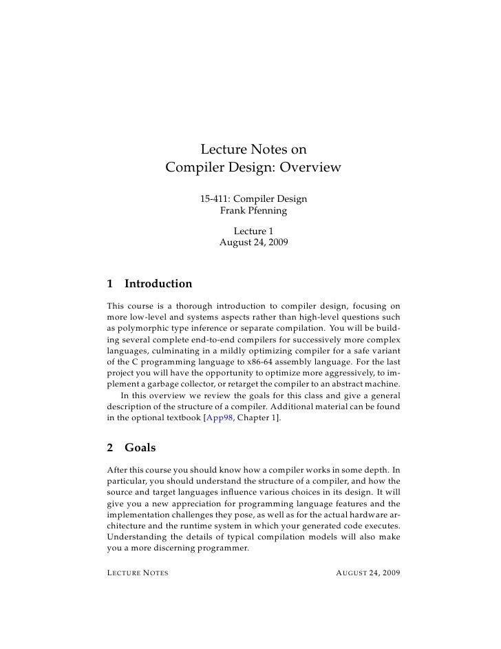 Lecture Notes on               Compiler Design: Overview                        15-411: Compiler Design                   ...