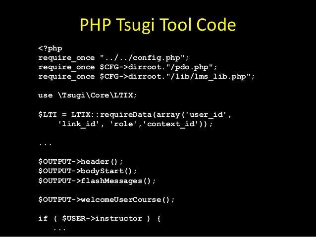 Java Tsugi Tool Code Launch launch = tsugi.getLaunch(req, res); if ( launch.isComplete() ) return; if ( ! launch.isValid()...