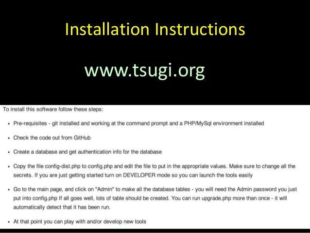 Installation Instructions www.tsugi.org