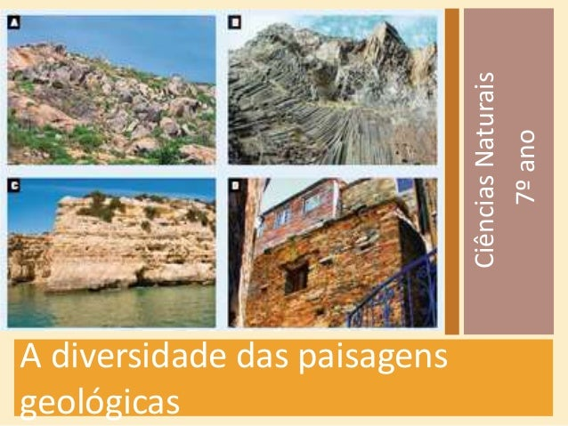 A diversidade das paisagens  geológicas  Ciências Naturais  7º ano