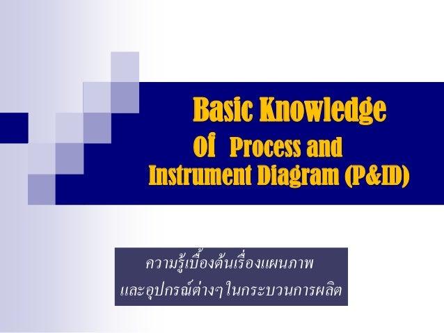 Basic Knowledge of Process and Instrument Diagram (P&ID) ความรู้เบื้องต้นเรื่องแผนภาพ และอุปกรณ์ต่างๆในกระบวนการผลิต