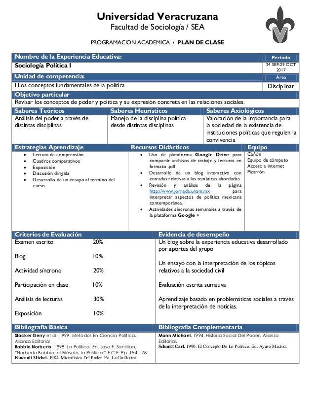 Universidad Veracruzana Facultad de Sociología / SEA PROGRAMACION ACADEMICA / PLAN DE CLASE Nombre de la Experiencia Educa...