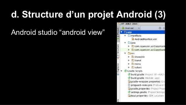 """d. Structure d'un projet Android (3) Android studio """"android view"""""""
