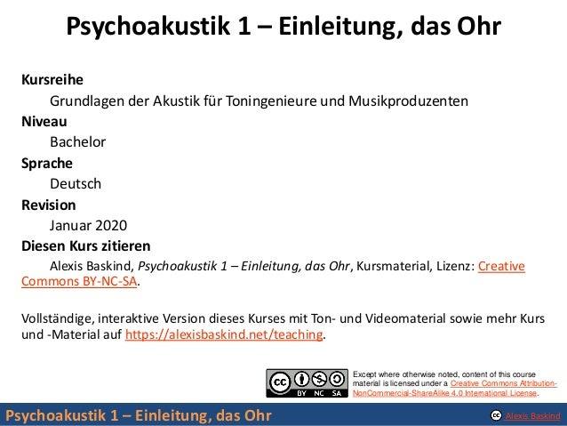 Psychoakustik 1: Einleitung, das Ohr Slide 2