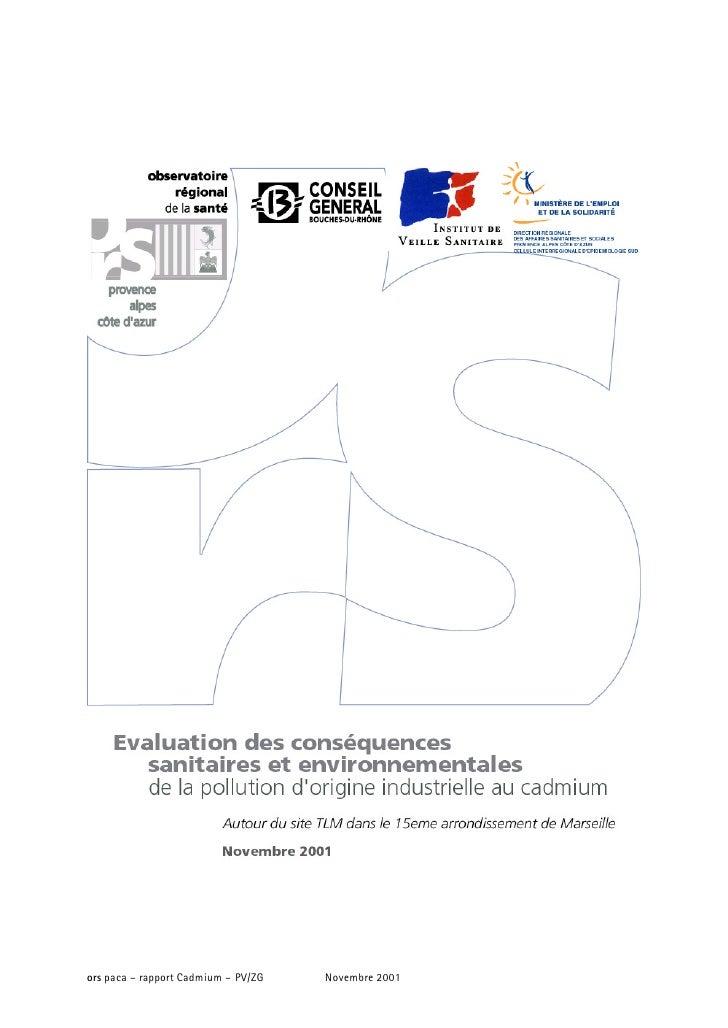 ors paca – rapport Cadmium – PV/ZG   Novembre 2001