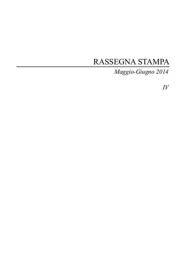 RASSEGNA STAMPA Maggio-Giugno 2014 IV