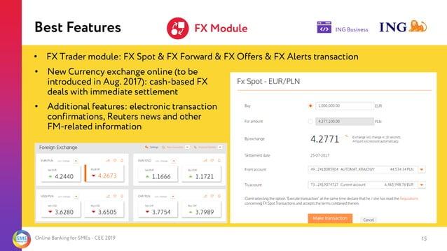 Online Banking for SMEs - CEE 2019 FX Module 15 • FX Trader module: FX Spot & FX Forward & FX Offers & FX Alerts transacti...