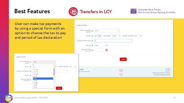 Online Banking for SMEs - CEE 2019 17 Best Features Santander Bank Polska Mini Firma (Online Banking for SMEs)Transfers in...
