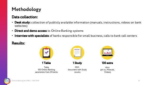 Online Banking for SMEs - CEE 2019 9 Data collection: • Desk study: collection of publicly available information (manuals,...
