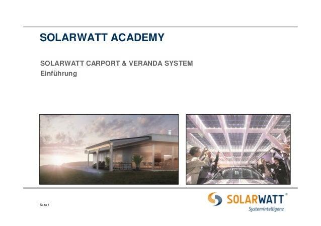 SOLARWATT ACADEMY  SOLARWATT CARPORT & VERANDA SYSTEM  Einführung  Seite 1