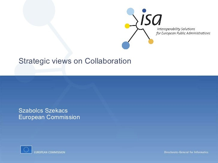 Strategic views on Collaboration Szabolcs Szekacs European Commission