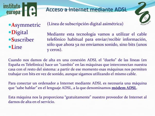 Acceso a Internet mediante ADSLAsymmetric           (Línea de subscripción digital asimétrica)Digital              Media...