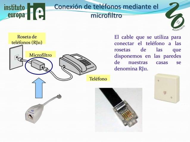 Conexión de teléfonos mediante el                                  microfiltro   Roseta de                                ...