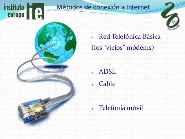"""Métodos de conexión a Internet              Red Telefónica Básica           (los """"viejos"""" módems)              ADSL     ..."""