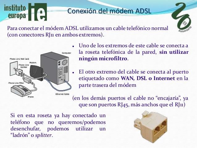 Conexión del módem ADSLPara conectar el módem ADSL utilizamos un cable telefónico normal(con conectores RJ11 en ambos extr...