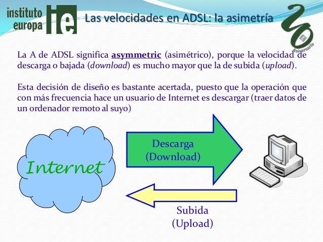 Las velocidades en ADSL: la asimetríaLa A de ADSL significa asymmetric (asimétrico), porque la velocidad dedescarga o baja...