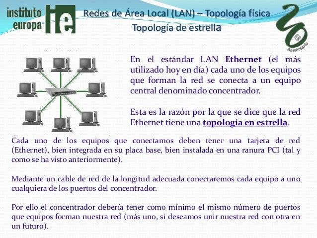 Redes de Área Local (LAN) – Topología física                              Topología de estrella                           ...