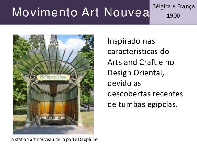 Movimento Art Nouveau Bélgica e França 1900 Inspirado nas características do Arts and Craft e no Design Oriental, devido a...