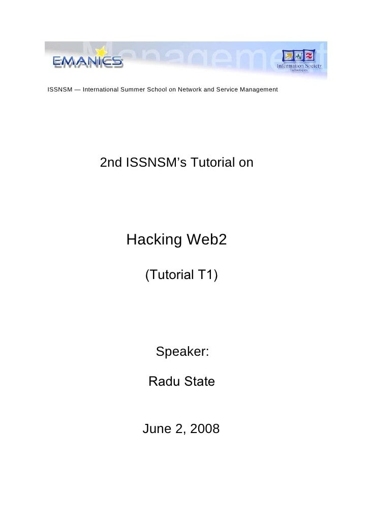 ISSNSM — International Summer School on Network and Service Management                    2nd ISSNSM's Tutorial on        ...