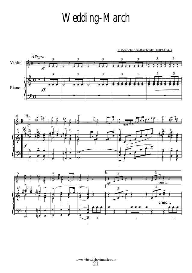 Wedding music for piano and violin mini bridal Wedding dress piano sheet